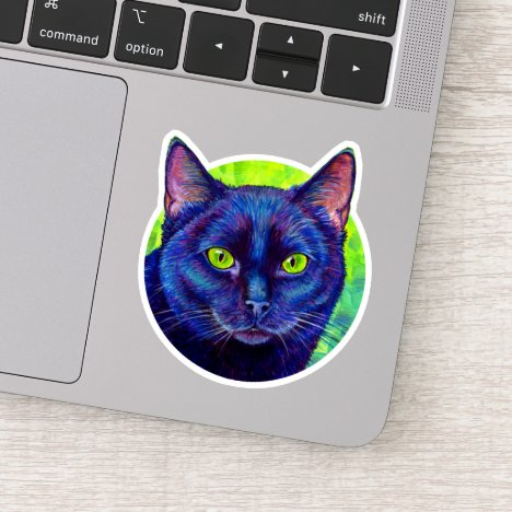 Colorful Black Cat Vinyl Sticker