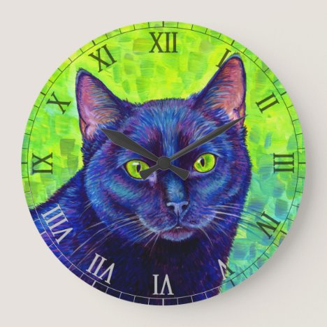 Colorful Black Cat Wall Clock