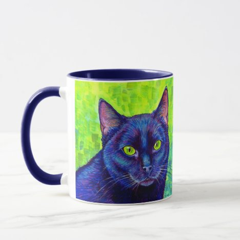 Colorful Black Cat with Chartreuse Eyes Mug