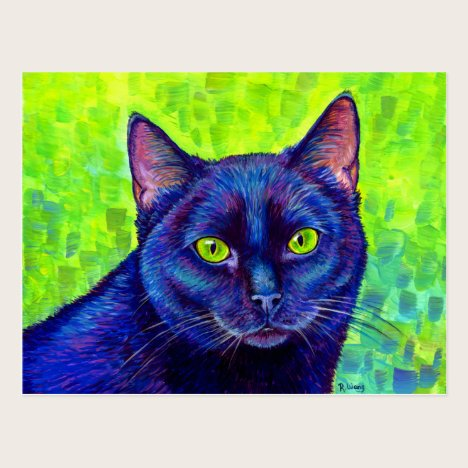 Colorful Black Cat with Green Eyes Art Postcard