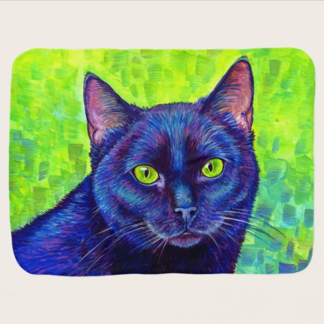 Colorful Black Cat with Green Eyes Baby Blanket