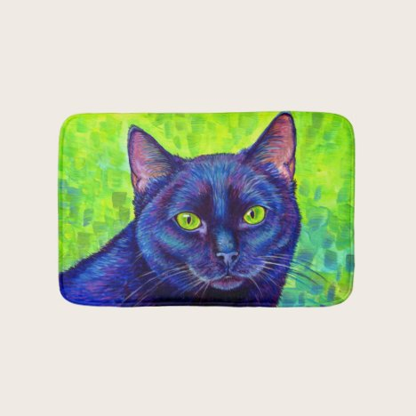 Colorful Black Cat with Green Eyes Bath Mat