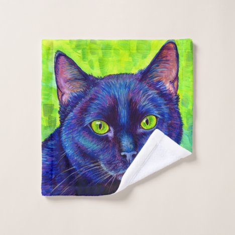 Colorful Black Cat with Green Eyes Bath Towel Set