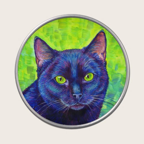 Colorful Black Cat with Green Eyes Candy Tin