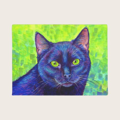 Colorful Black Cat with Green Eyes Door Mat