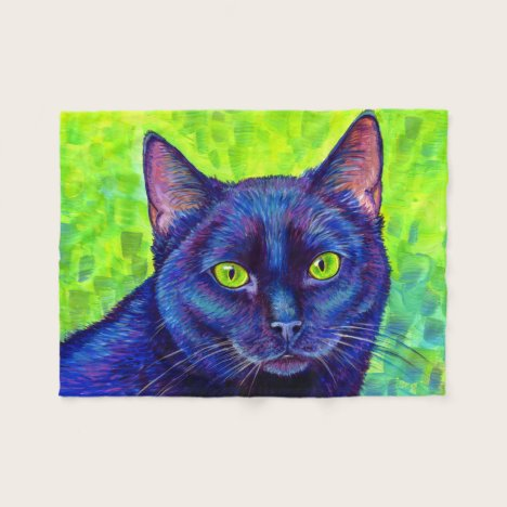 Colorful Black Cat with Green Eyes Fleece Blanket