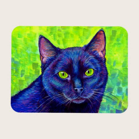 Colorful Black Cat with Green Eyes Flexible Magnet