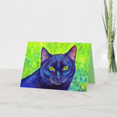 Colorful Black Cat with Green Eyes Greeting Card