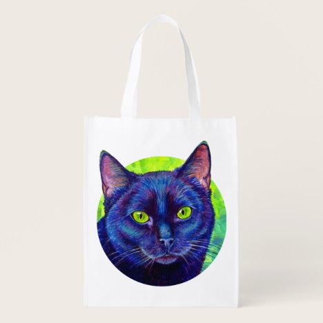 Colorful Black Cat with Green Eyes Grocery Bag