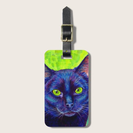 Colorful Black Cat with Green Eyes Luggage Tag
