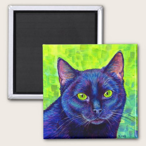 Colorful Black Cat with Green Eyes Magnet