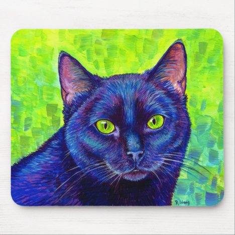 Colorful Black Cat with Green Eyes Mouse Pad