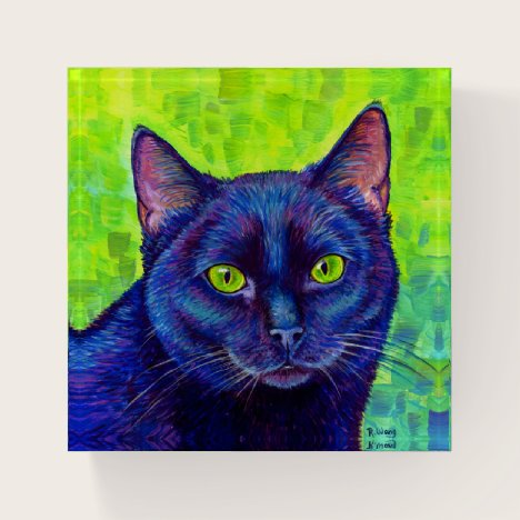 Colorful Black Cat with Green Eyes Paperweight