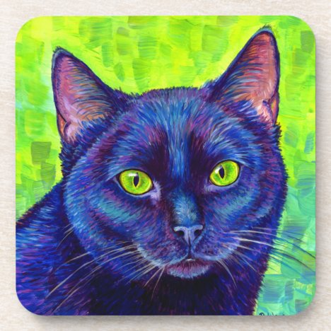 Colorful Black Cat with Green Eyes Plastic Coaster