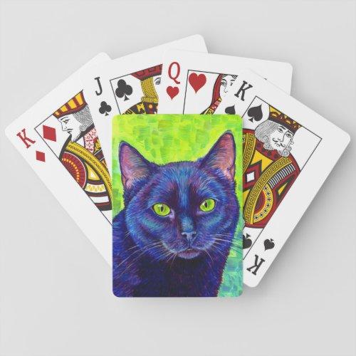 Colorful Black Cat with Green Eyes Playing Cards