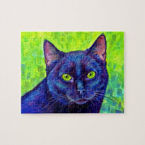 Colorful Black Cat with Green Eyes Puzzle