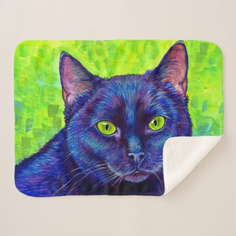 Colorful Black Cat with Green Eyes Sherpa Blanket