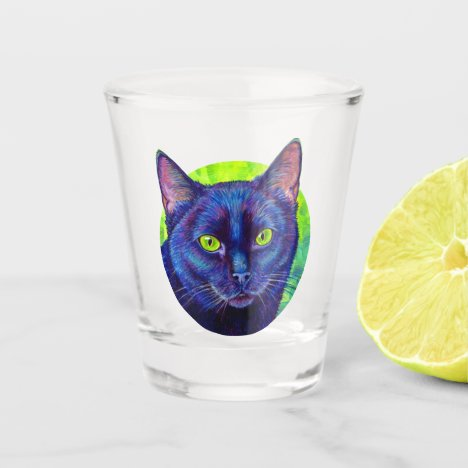 Colorful Black Cat with Green Eyes Shot Glass