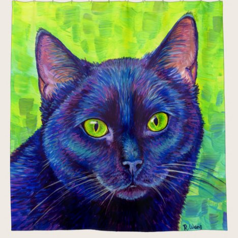 Colorful Black Cat with Green Eyes Shower Curtain