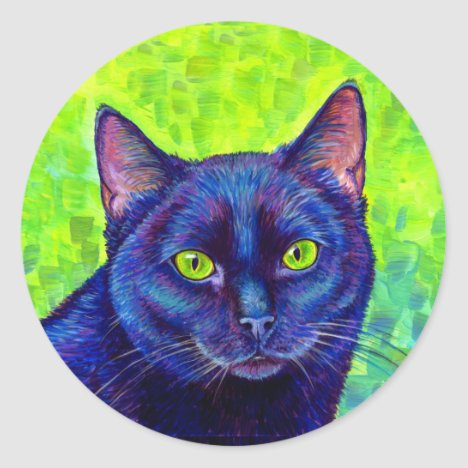 Colorful Black Cat with Green Eyes Stickers