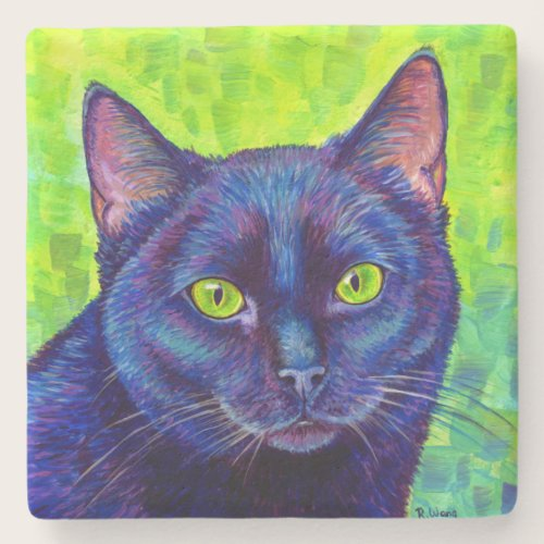 Colorful Black Cat with Green Eyes Stone Coaster