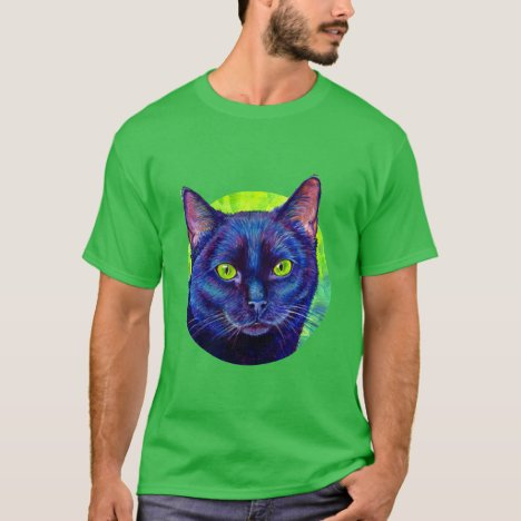 Colorful Black Cat with Green Eyes T-Shirt