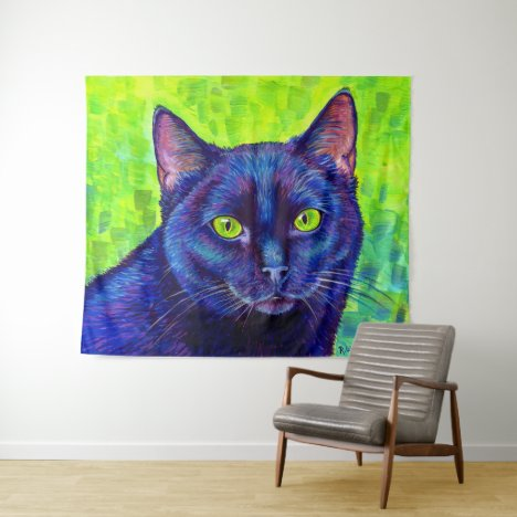 Colorful Black Cat with Green Eyes Tapestry
