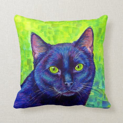 Colorful Black Cat with Green Eyes Throw Pillow