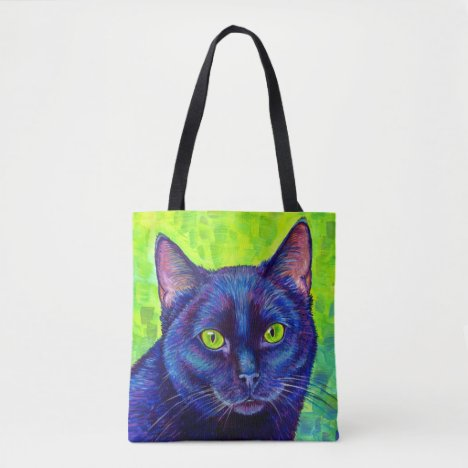 Colorful Black Cat with Green Eyes Tote Bag