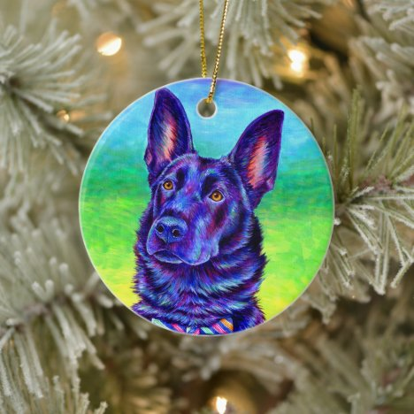 Colorful Black German Shepherd Ceramic Ornament