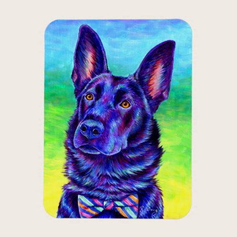 Colorful Black German Shepherd Dog Flexible Magnet