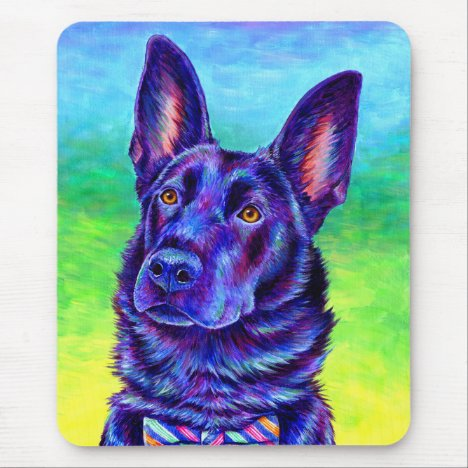 Colorful Black German Shepherd Dog Mouse pad
