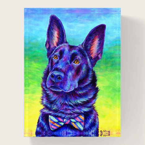 Colorful Black German Shepherd Dog Paperweight