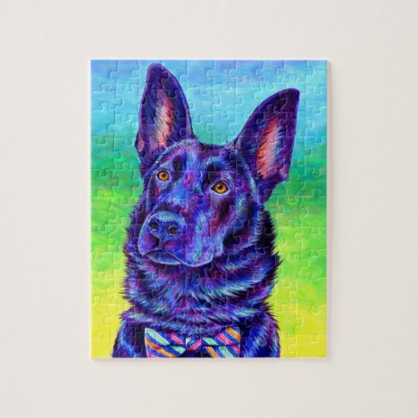 Colorful Black German Shepherd Dog Puzzle