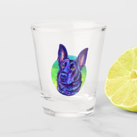 Colorful Black German Shepherd Dog Shot Glass