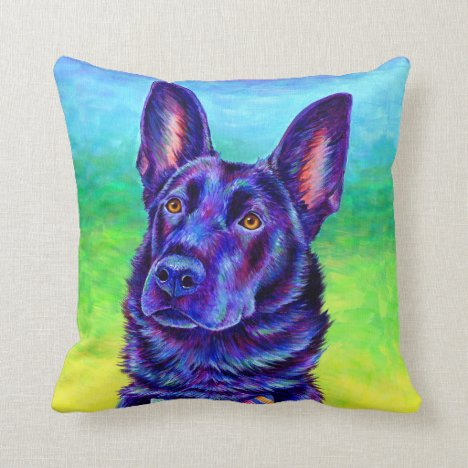 Colorful Black German Shepherd Dog Throw Pillow