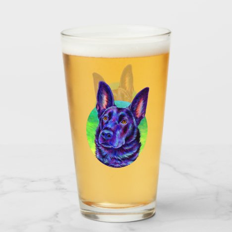 Colorful Black German Shepherd Drinking Glass Cup