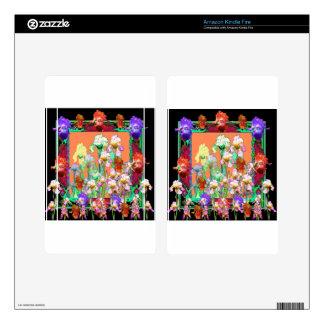 Colorful Black Iris Garden Art design by sharles Kindle Fire Skin