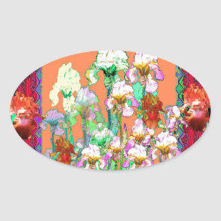 Colorful Black Iris Garden Art design by sharles Oval Sticker
