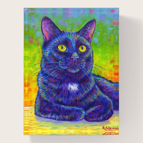 Colorful Black Kitty Cat Paperweight