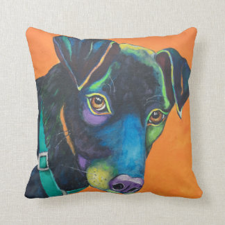 Colorful Black Lab Throw Pillow