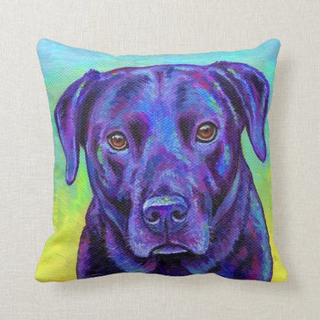 Colorful Black Labrador Dog Throw Pillow