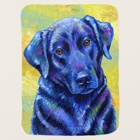 Colorful Black Labrador Retriever Dog Baby Blanket