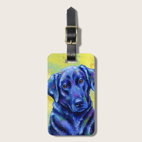 Colorful Black Labrador Retriever Dog Luggage Tag