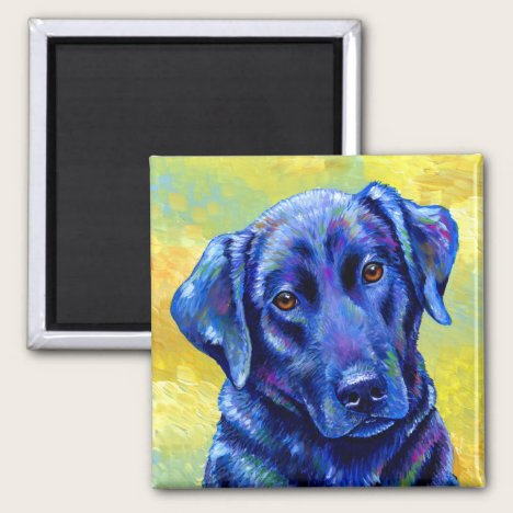 Colorful Black Labrador Retriever Dog Magnet
