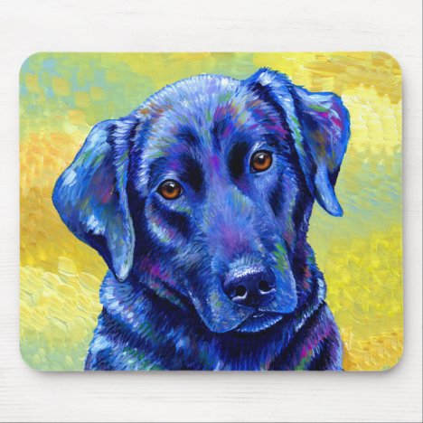Colorful Black Labrador Retriever Dog Mouse Pad