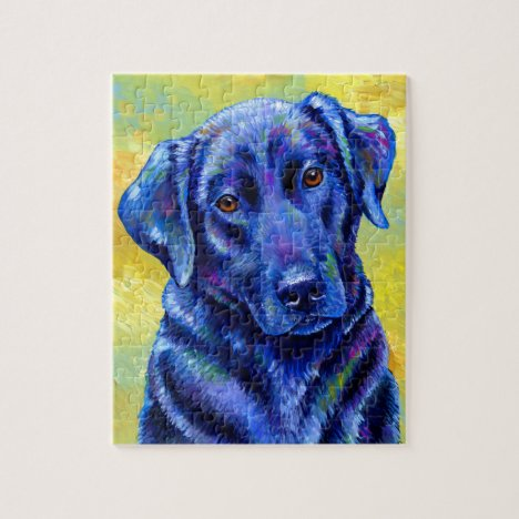 Colorful Black Labrador Retriever Dog Puzzle