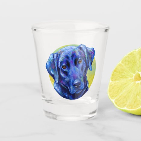 Colorful Black Labrador Retriever Dog Shot Glass