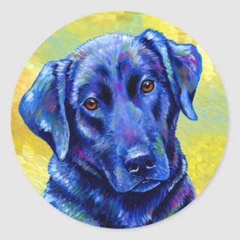 Colorful Black Labrador Retriever Dog Stickers