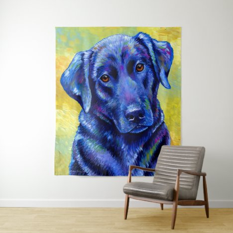 Colorful Black Labrador Retriever Dog Tapestry